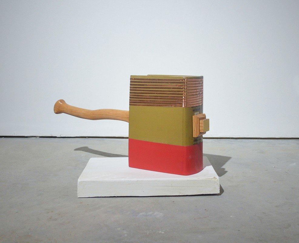 Chekhov's Hammer (floor)_ book, resin, copper tape, plastic, wood, gold leaf