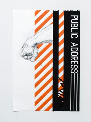 """American Drawing: Public Address_ 22""""x15"""" graphite, pigment, acrylic on paper"""