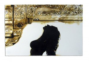"FauxPas: Balderdash_ 20x30""_ gunpowder, pigment on paper [2012]"