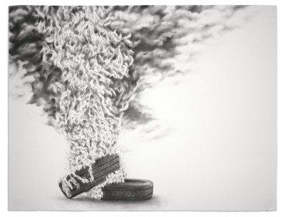 Shield: Burn_ graphite, lamp black on paper_38.5x 50 in