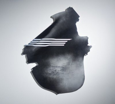 "Shield: Predation 2_ Acrylic, resin, image transfer, shaped panel 48""x40""x3"""